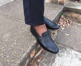 Giddins Black Leather Shoe