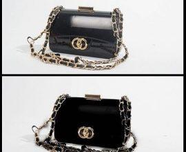Black Hard Plastic Clutch Bag