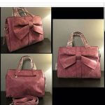 Maroon Leather Bag with Bow (C9B3)