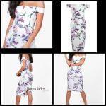 Floral Print Off Shoulder Midi dress