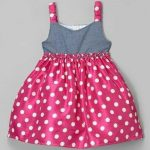 Girls Dress (Grey,deep pink, white polka dot)