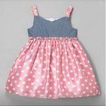Girls Dress (Grey,pink,white polka dot)