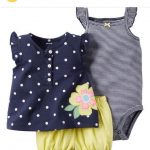Girl's Three piece bodysuit and diaper cover set