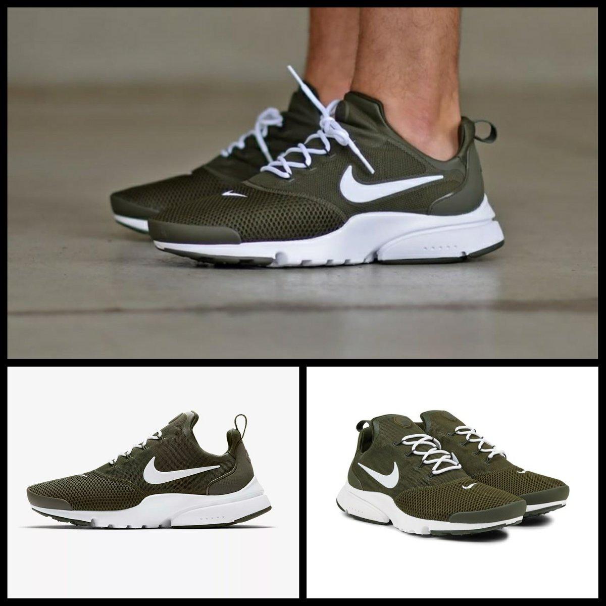 Nike Presto Fly Sneakers (Cargo Khaki and White) Fashion for Men