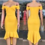 Yellow Off Shoulder Bodycon Dress