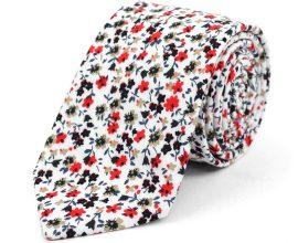 white floral necktie