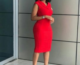 red ladies office dress