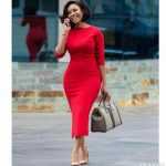 Red Midi Elbow Sleeve Office Dress