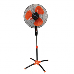 "Mikachi Standing Fan – 16"" Black/Orange"