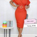 V Neck Orange Dress With Belt