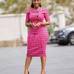 Pink Checkered Office Dress