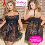 Black short lace dress nightie