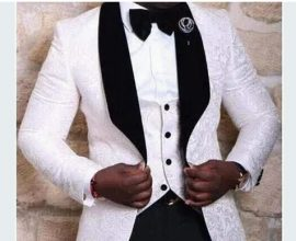 black and white wedding suit
