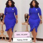 Royal Blue Ladies Side Ruffle Dress