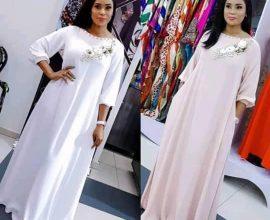 white caftan dress