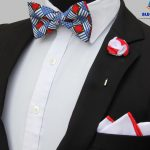 BLUE CITY Africa print bow tie set