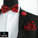 BLUE CITY African print bow tie set – Red wine