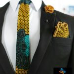 BLUE CITY African print flying tie set – gold