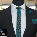 BLUE CITY African print flying tie set – Green