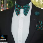 BLUE CITY African print butterfly bow tie set – Green