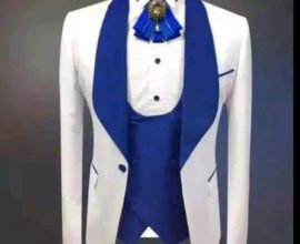 white and blue wedding suit