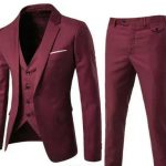 Burgundy Slim Fit Korean Suit