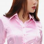 Pink And White Striped Womens Shirt