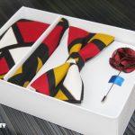 BLUE CITY ankara print bow tie, flying tie, pocket square and lapel pin set