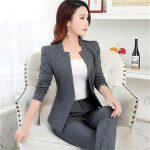 Grey Ladies Trouser Suit