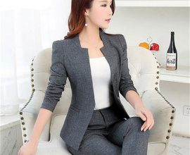 ladies grey trouser suit