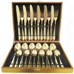 24 Piece Gold Cutlery Set