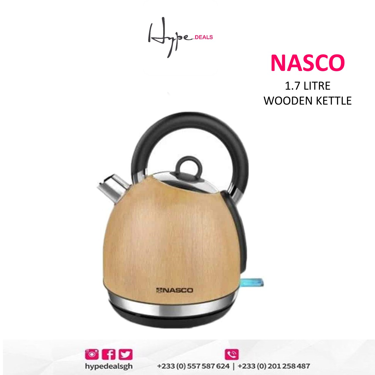 Nasco 1.7 Litre Wooden Coated Kettle (KE5501E-GS)