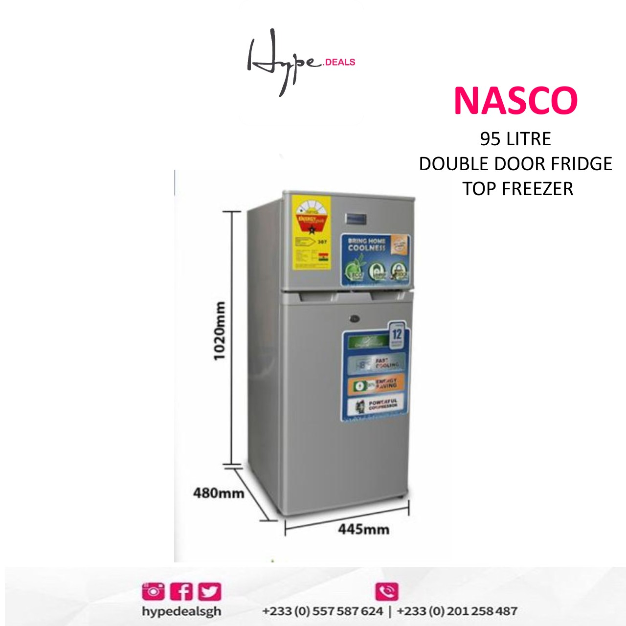 Nasco 95 Litre Double Door Fridge (Top Freezer)