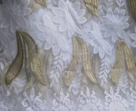 white and gold lace fabric price in ghana