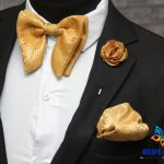 BLUE CITY Executive gold butterfly bow tie|gold pocket square|gold Rose lapel pin|Wedding bow tie|perfect gift|for him
