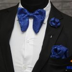 BLUE CITY Executive blue butterfly bow tie|pocket square|Rose lapel pin
