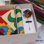 BLUE CITY Kente flying tie set|Kente flying tie|Kente pocket square|kente lapel pin