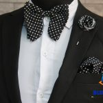 BLUE CITY black and white polka dot butterfly bow tie pocket square lapel pin