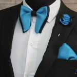 BLUE CITY turquoise blue and black combo butterfly bow tie|Turquoise blue pocket square|blue and black lapel pin