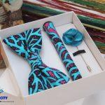 BLUE CITY turquoise blue african print|Ankara bow tie set|Turquoise blue African print bow tie|Turquoise blue african print pocket square|Turquoise blue african print Rose lapel pin