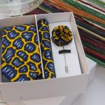 BLUE CITY Yellow and navy blue African print flying tie set|African print flying tie|pocket square|lapel pin