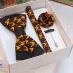 BLUE CITY curry and black African print bow tie set|bow tie|pocket square|lapel pin