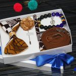 BLUE CITY African print bow tie gift set package|bow tie|pocket square|rose lapel pin