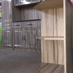 Wooden kitchen cabinet with sink