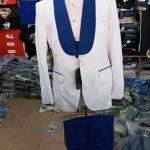 White Suit with Blue Lapel