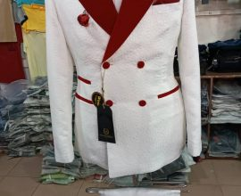 red and white mens suit in ghana