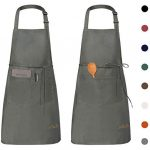 Viedouce Durable Chef Unisex Aprons with Pockets, Gray