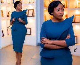 blue office dress in ghana