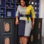 Grey,Blue and Yellow Office Dress