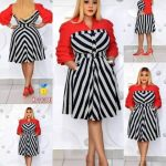 Red,Black and White Striped Dress